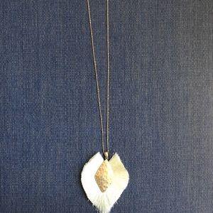 Jewelry - NWT Cream/Gold Fringe Statement Necklace
